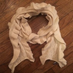 Ann Taylor wool & rabbit hair ivory ruffle scarf